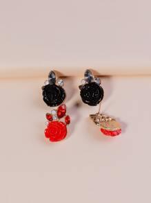 2pairs Rhinestone Rose Stud Earrings