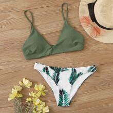 Top und Bikini mit Pflanzen Muster
