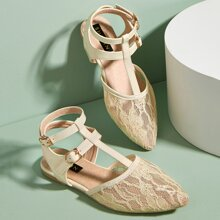 Toddler Girls Floral Lace T Strap Flats