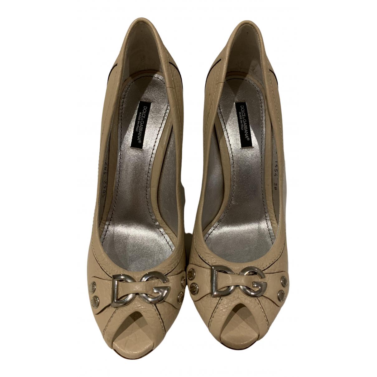 Dolce & Gabbana \N Beige Leather Heels for Women 38 EU
