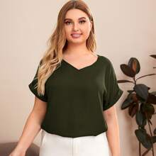 Plus V-neck Rolled Cuff Solid Top