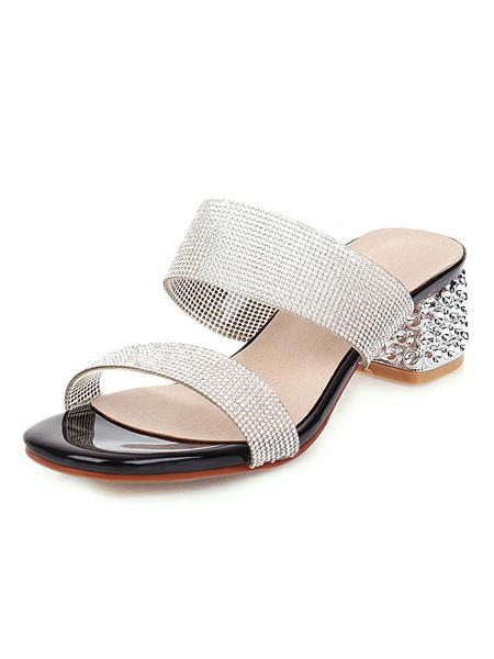 Milanoo Women\s Double Strap Slides Crystal Sandlas Beach Slippers Block Heel Sandal