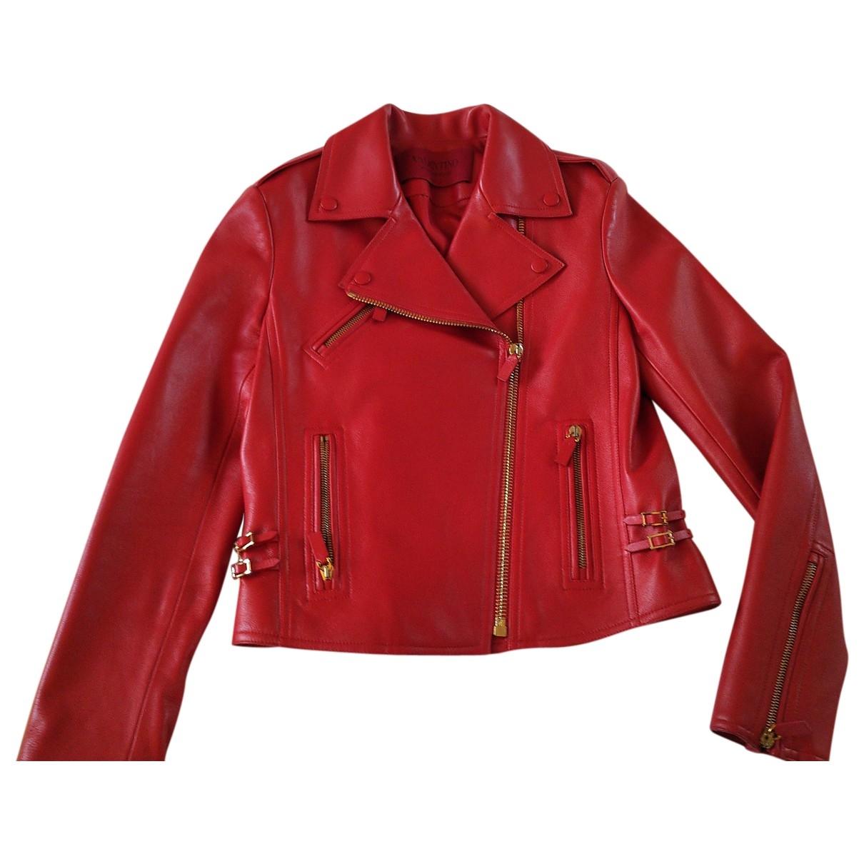 Valentino Garavani \N Lederjacke in  Rot Leder