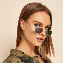 Metal Frame Flat Lens Sunglasses With Case