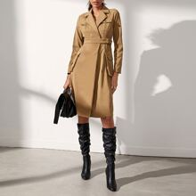 Lapel Neck Button Front Belted Dress
