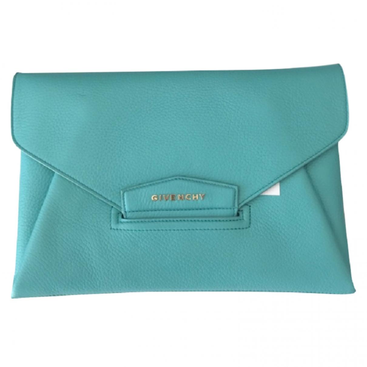 Givenchy - Pochette Antigona pour femme en cuir - turquoise
