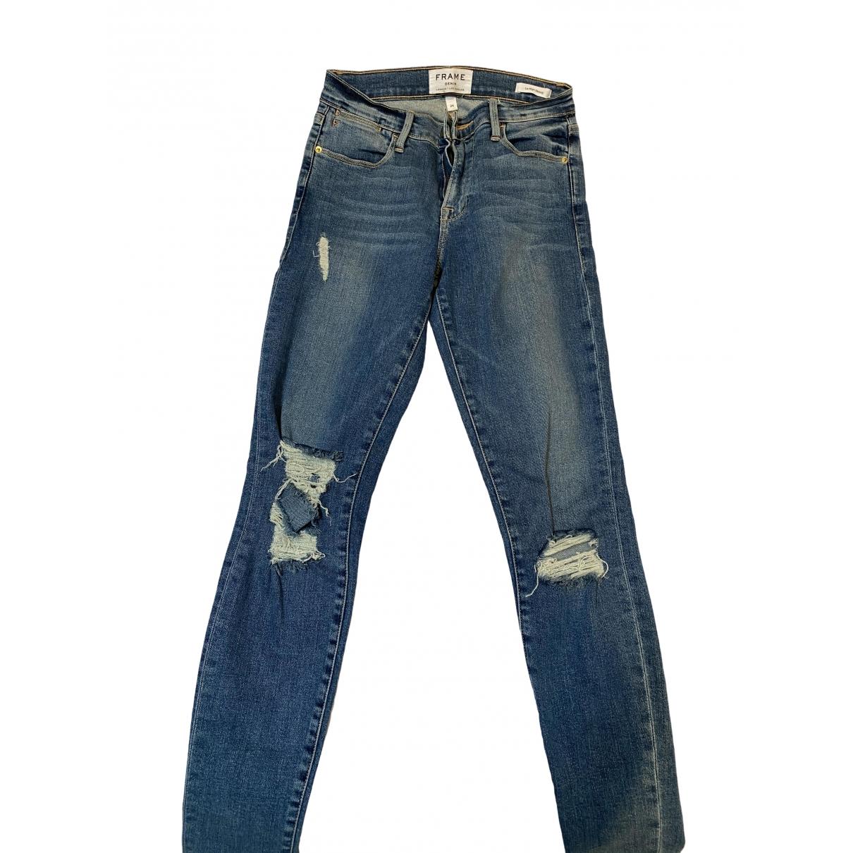 Frame Denim \N Blue Cotton - elasthane Jeans for Women 24 US