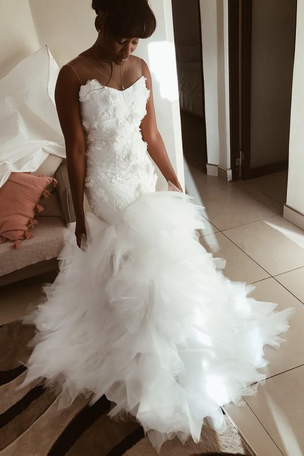 Sirena apliques florales volantes vestidos de novia | Vestidos de novia sin mangas sin espalda de tul transparente