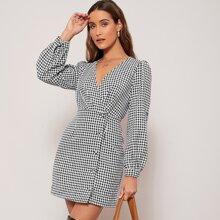Tweed Kleid mit Hahnentritt Muster und Laternenaermeln