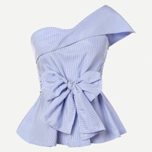 Pinstriped One-Shoulder Bow Peplum Top