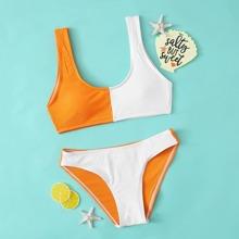 Maedchen Two Tone Rib Bikini Badeanzug