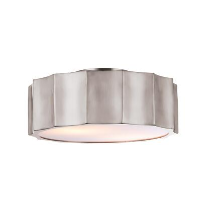 DU91SHN 2-Light Flush Mount with Iron Materials and 40 Watts in Shiny Nickel