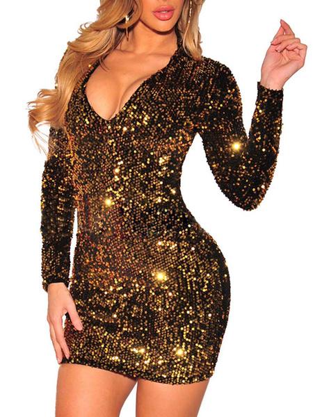 Milanoo Mini vestido oro 2020 cuello en V con lentejuela manga larga vestido de club de mujer brillo Vestidos nochevieja 2020