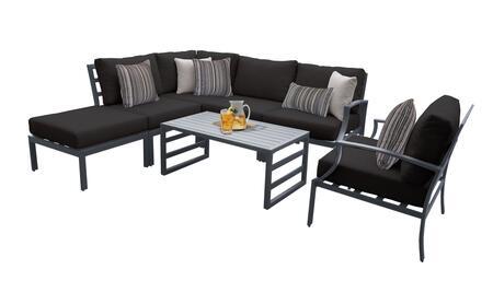 Lexington LEXINGTON-07f-BLACK 7-Piece Aluminum Patio Set 07f with 1 Right Arm Chair  1 Club Chair  1 Coffee Table  1 Ottoman  1 Corner Chair and 2