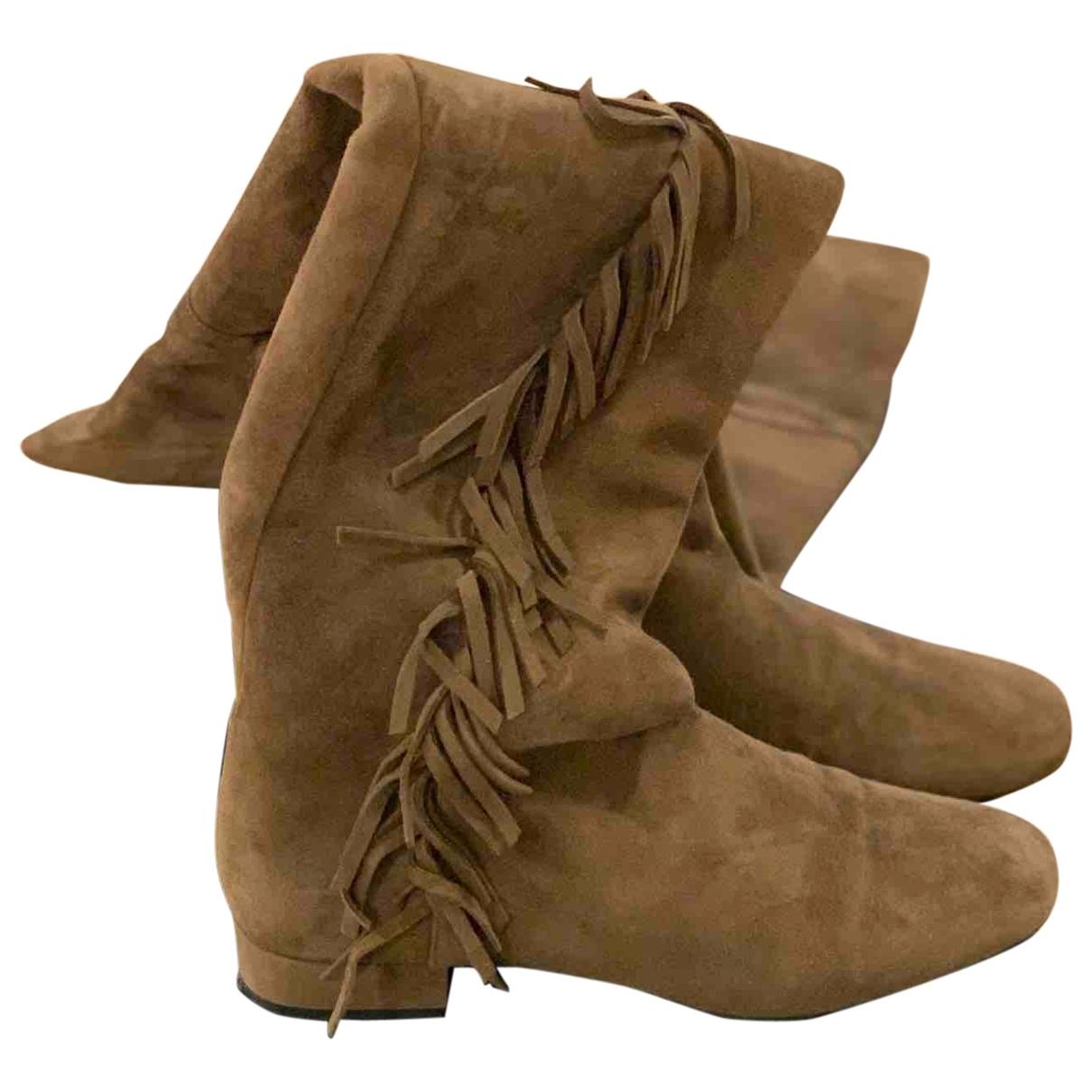 Saint Laurent \N Brown Suede Boots for Women 41 EU