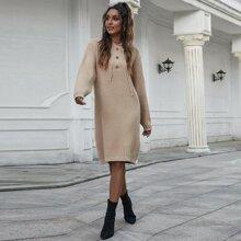Rippenstrick Pullover Kleid mit Kordelzug und Kapuze