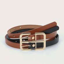Geometric Buckle Layered Belt