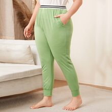 Plus Striped Tape Waist Sleep Pants