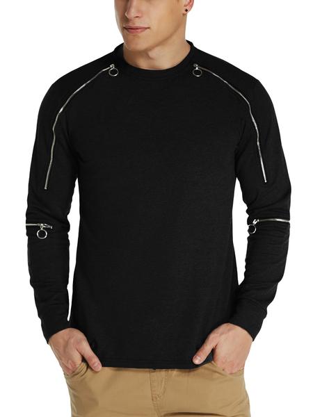 Yoins MODCHOK Men Zip Design Cotton Crew Neck Jumper Casual Sweatshirt