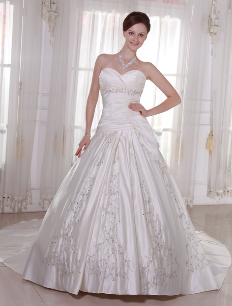 Milanoo Wedding Dresses Strapless Satin Bridal Gown Pleated Embroidered Beading Dropped Waist Sweetheart Neckline Bridal Dress With Train