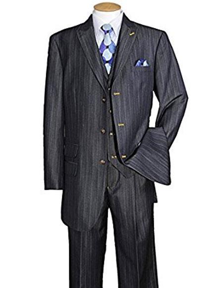 Mens Peak Lapel Vested 3Piece Navy suit pleated pants Ticket Pocket