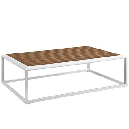Stance Collection EEI-3021-WHI-NAT Outdoor Patio Aluminum Coffee Table in White Natural