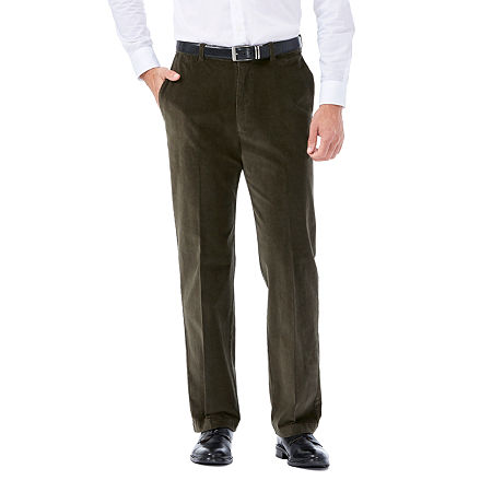 Haggar Stretch Corduroy Classic Fit Flat Front Pant, 36 29, Green