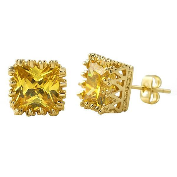 Crown Princess Cut CZ Earrings