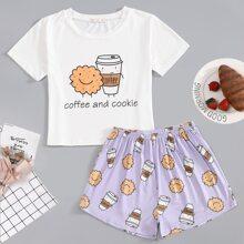 Schlafanzug Set mit Kaffee & Keks Muster