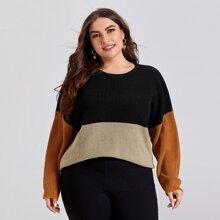 Plus Contrast Panel Drop Shoulder Sweater