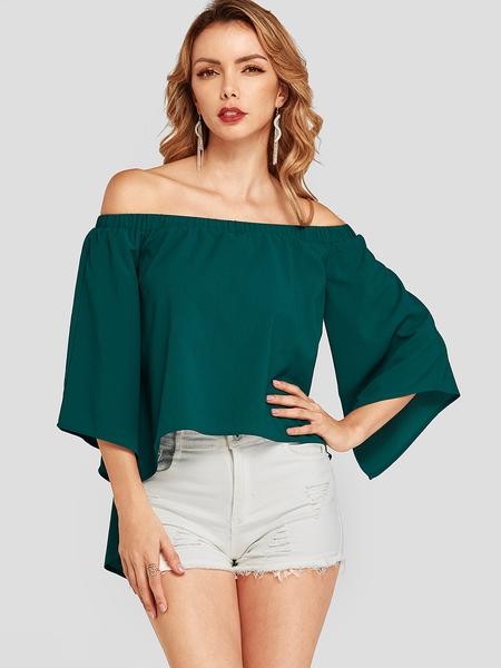 YOINS Green Off The Shoulder Half Sleeves Blouse