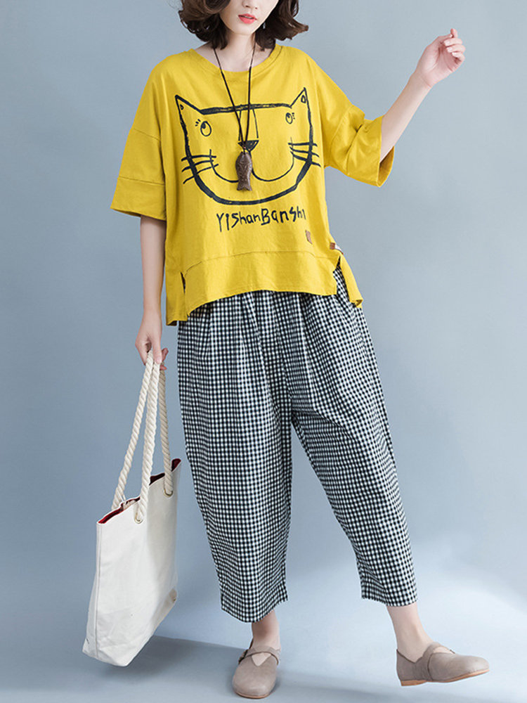 Women Cat Printed Short Sleeve Loose T-shirts