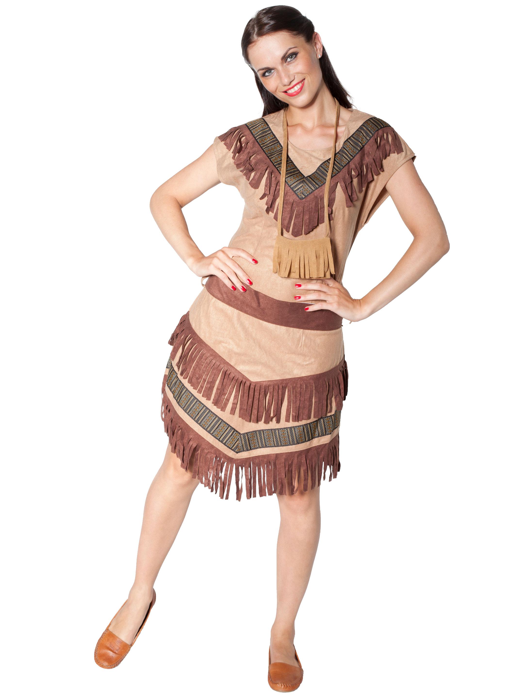 Damen-Kostuem Indianerin beige Grosse: 48