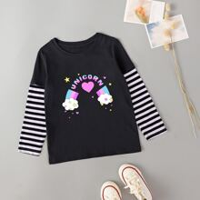 Toddler Girls Letter & Cartoon Graphic 2 In 1 Tee