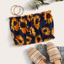 Ruffled Sunflower Print Cropped Tube Top