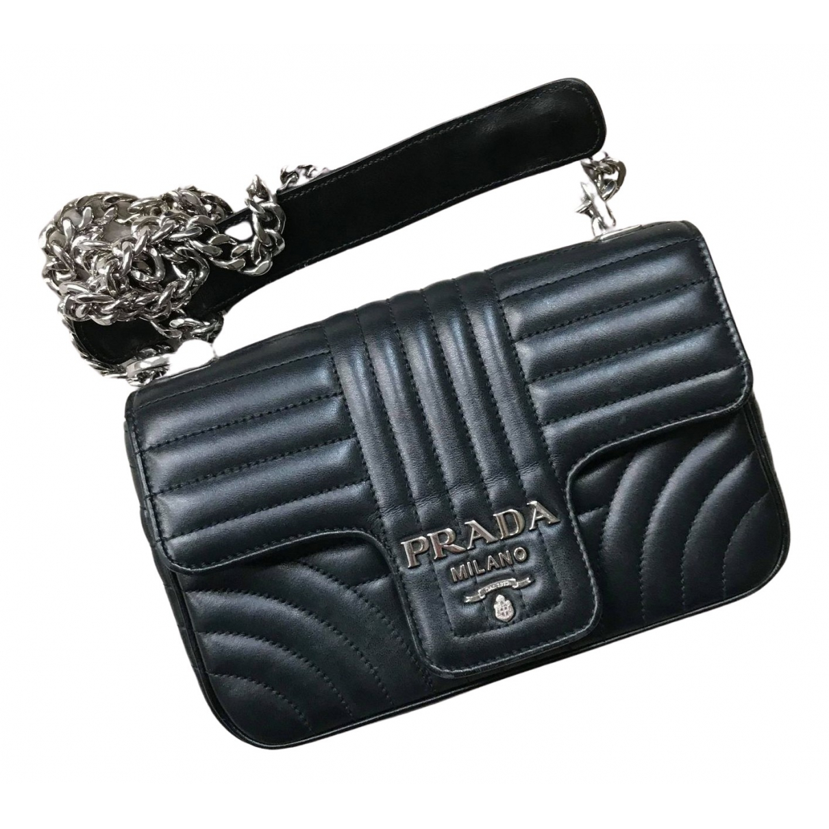 Prada Diagramme Black Leather handbag for Women N