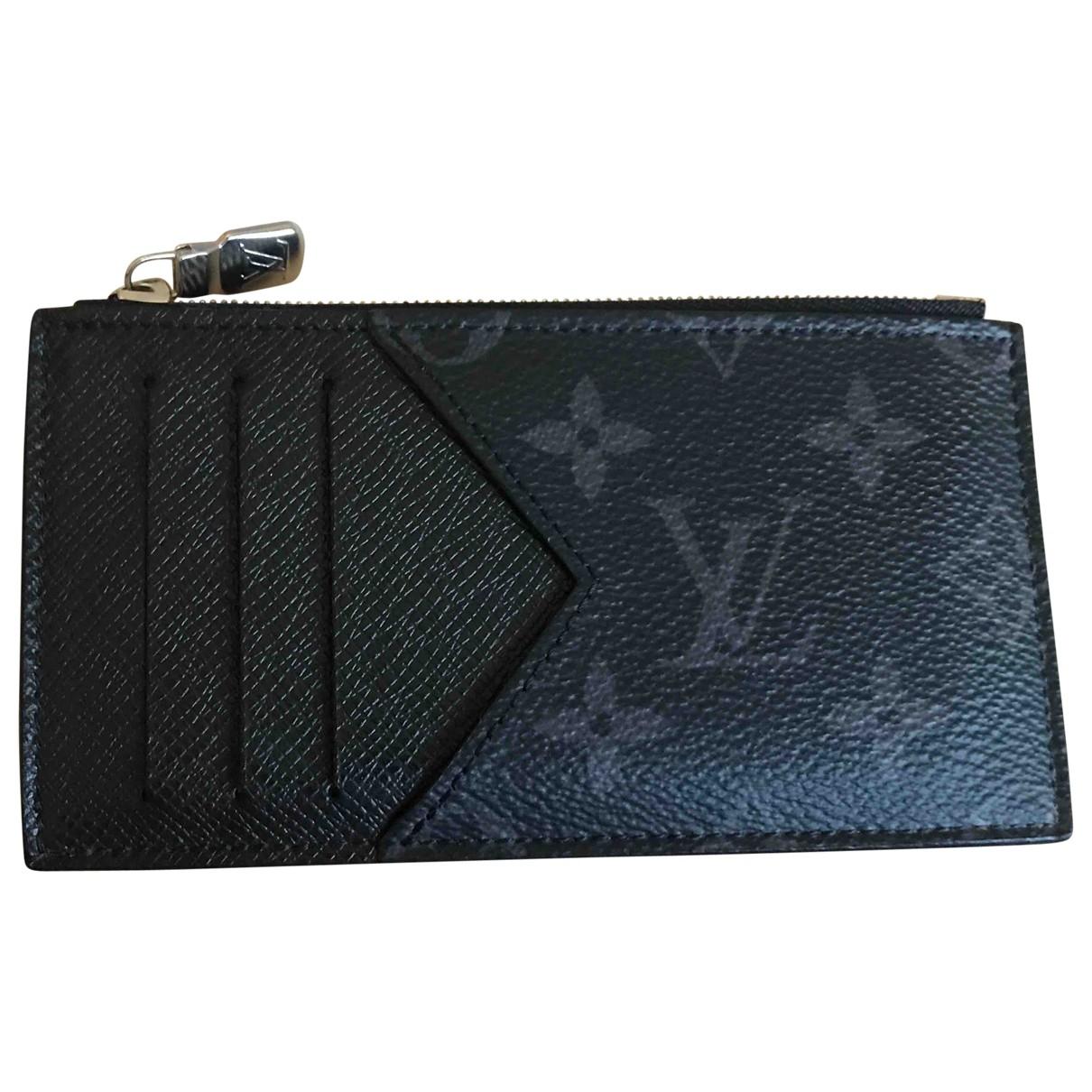 Louis Vuitton  Coin Card Holder Kleinlederwaren in  Schwarz Leinen