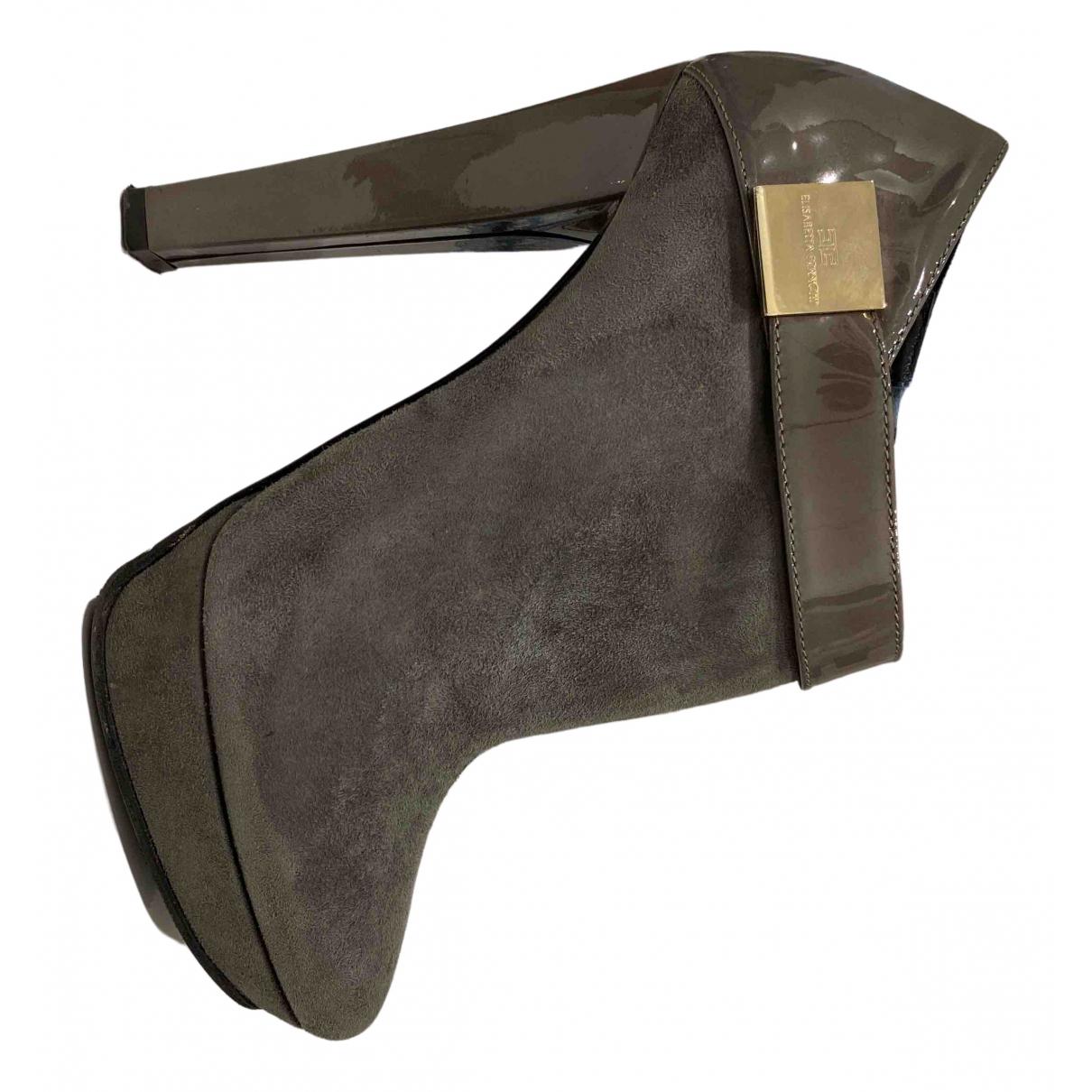 Elisabetta Franchi N Grey Suede Ankle boots for Women 37.5 IT