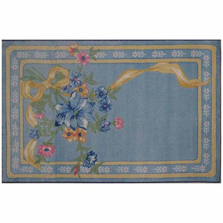 Flower Ribbon Rectangular Indoor Rugs, One Size , Blue