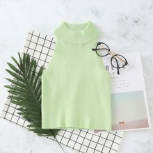 Solid Sleeveless Ribbed Knit Top