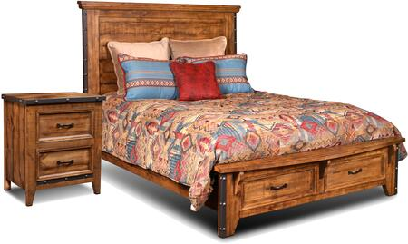 HH4365KBBEDROOMSET 2-Piece Bedroom Set with King Size Storage Bed + Single Nightstand  in Rustic Natural