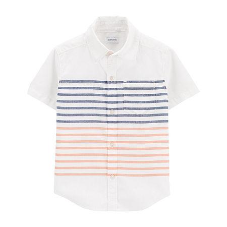 Carter's Baby Boys Short Sleeve Button-Down Shirt, 9 Months , White