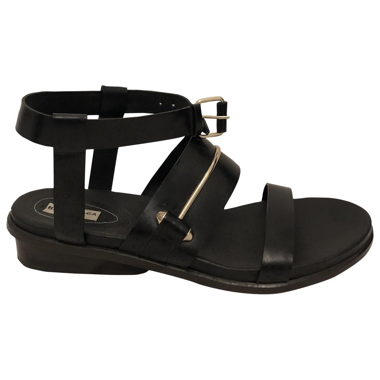 Balenciaga \N Black Leather Sandals for Women 41.5 EU