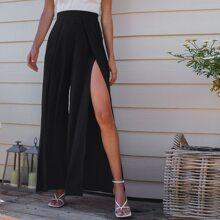 High-Rise Front Slit Wide-Leg Pants