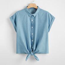 Plus Button Front Tie Hem Denim Top