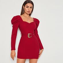 Sweetheart Neck Leg-of-mutton Sleeve Buckle Belted Dress