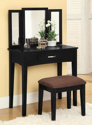 Potterville CM-DK6490BK Vanity Table  with Contemporary Style  Solid Wood and Others  3-Sided Mirror and Drawer in
