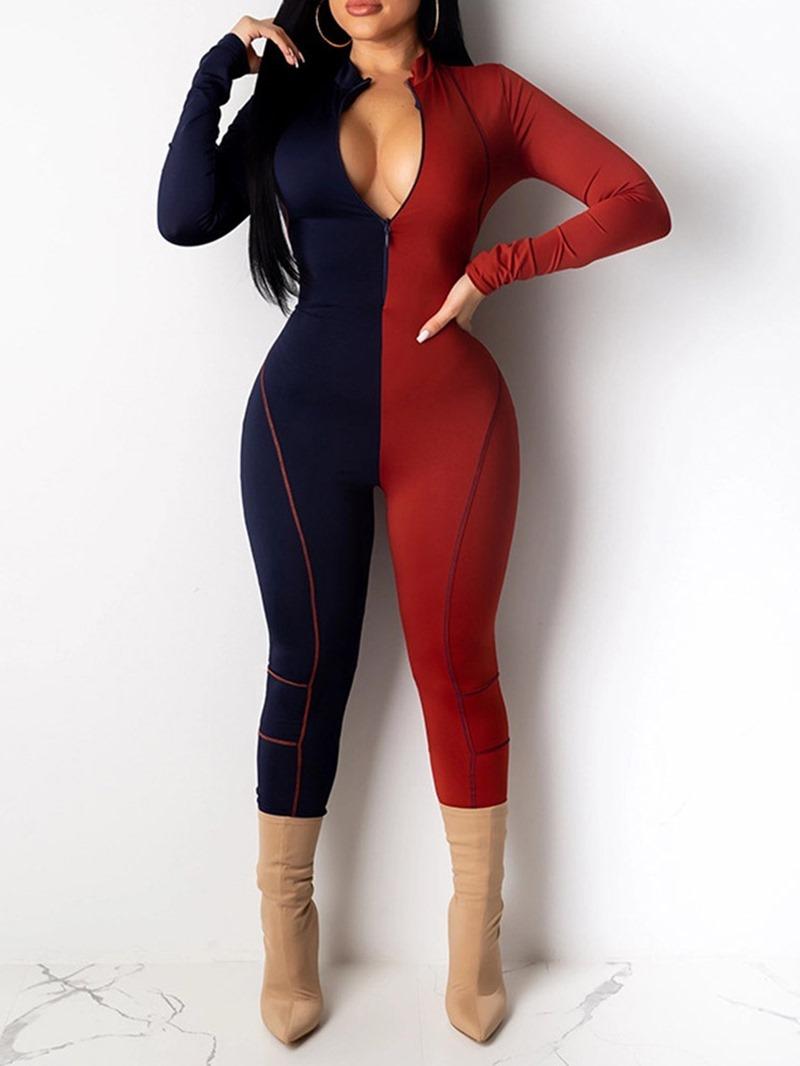 Ericdress Color Block Casual High Waist Women's Skinny Jumpsuit