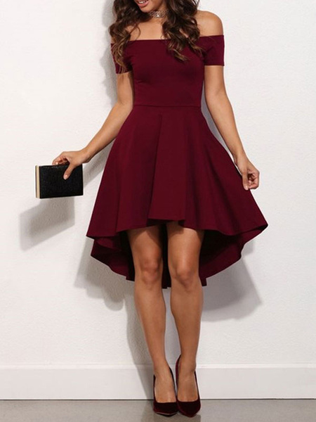 Milanoo Skater Dresses Polyester Bateau Neck Burgundy Sexy Short Sleeves Flared Dress