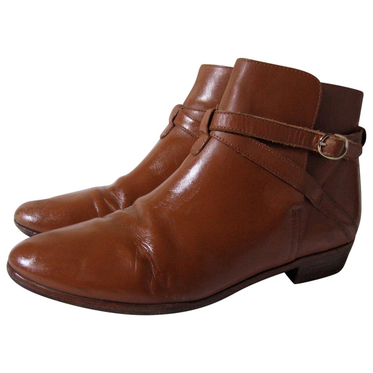 Sezane - Boots   pour femme en cuir - camel